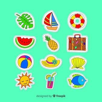 Colección de pegatinas coloridas de verano