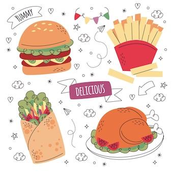 Colección de pegatinas de comida dibujadas a mano