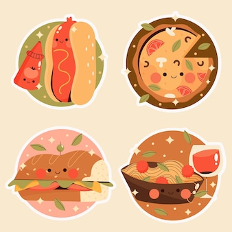 Colección de pegatinas de comida plana