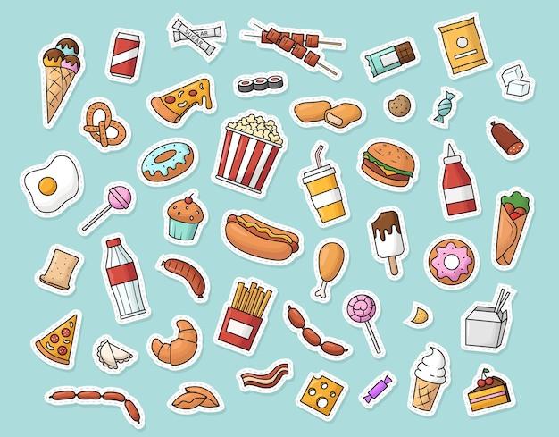 Colección de pegatinas de comida rápida. ilustración vectorial.