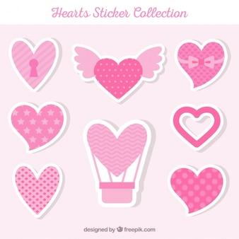 Colección de pegatinas de corazón en tonos rosados