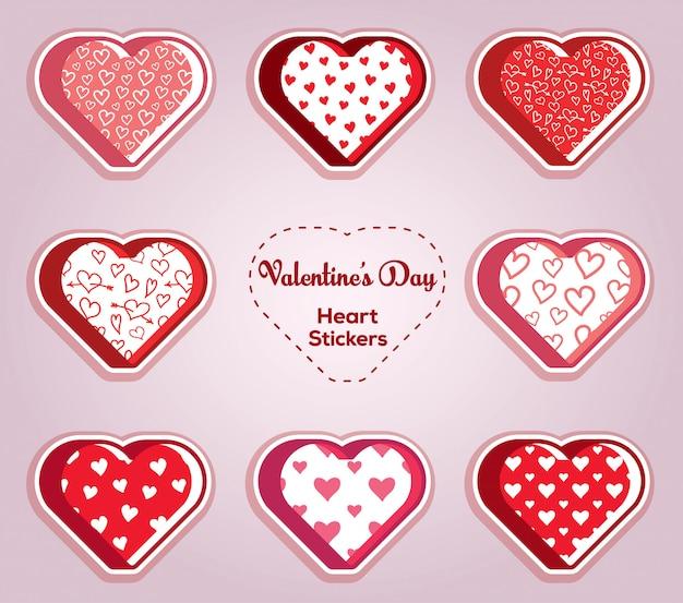 Colección de pegatinas de corazón