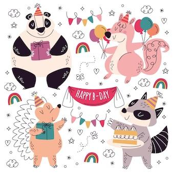 Colección de pegatinas de cumpleaños dibujadas a mano