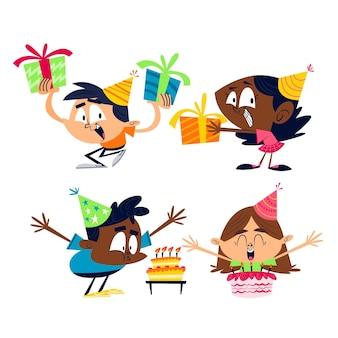 Colección de pegatinas de cumpleaños de dibujos animados retro