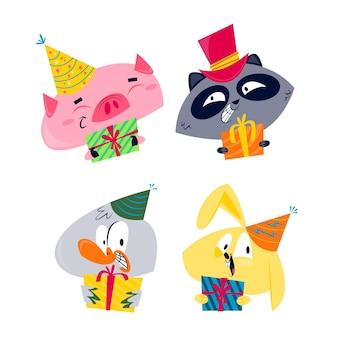 Colección de pegatinas de cumpleaños de dibujos animados