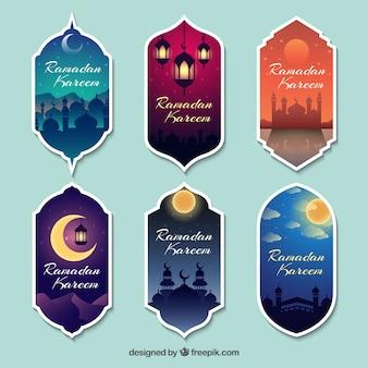 Colección de pegatinas decorativas de ramadan