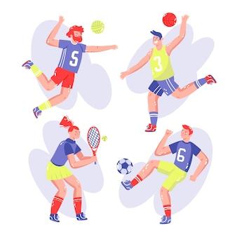 Colección de pegatinas deportivas dibujadas a mano