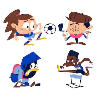 Colección de pegatinas deportivas de dibujos animados