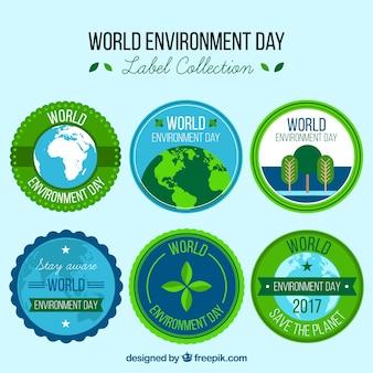 Colección de pegatinas del día mundial del medioambiente