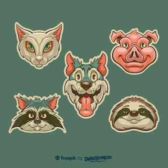 Colección de pegatinas dibujadas a mano con animales