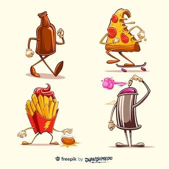 Colección de pegatinas dibujadas a mano con rebanada de pizza y patatas fritas