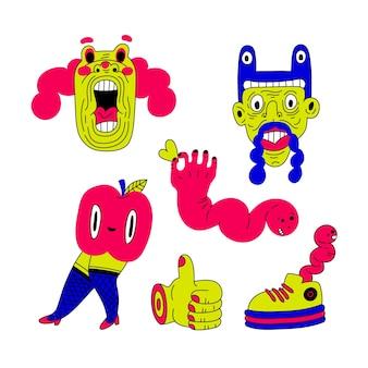 Colección de pegatinas dibujadas a mano