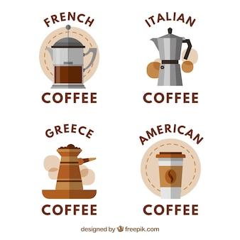 Colección de pegatinas con diferentes tipos de cafeteras
