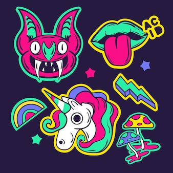 Colección de pegatinas divertidas dibujadas a mano con colores ácidos
