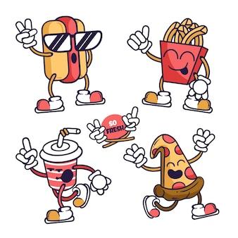 Colección de pegatinas divertidas dibujadas a mano con comida