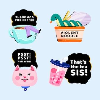 Colección de pegatinas divertidas dibujadas a mano con mensajes