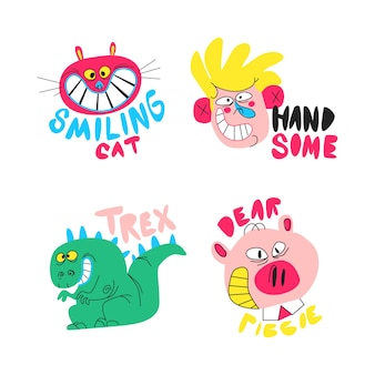 Colección de pegatinas divertidas dibujadas a mano