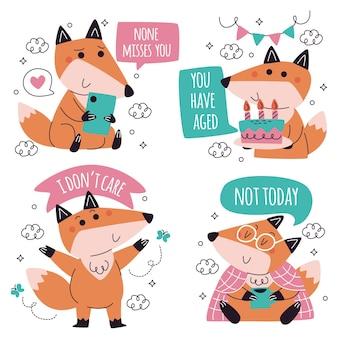 Colección de pegatinas divertidas doodle