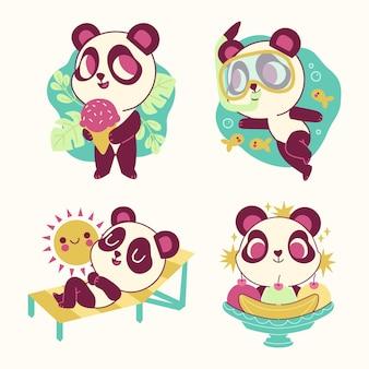 Colección de pegatinas divertidas de oso panda
