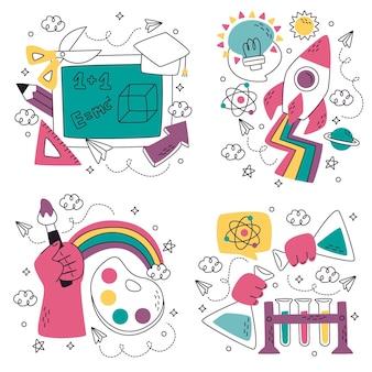 Colección de pegatinas de educación doodle dibujados a mano