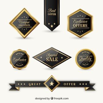 Colección de pegatinas elegantes de ofertas exclusivas