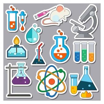 Colección de pegatinas de elementos de ciencia