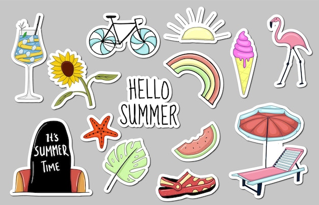 Colección de pegatinas de elementos de verano dibujados a mano de colores