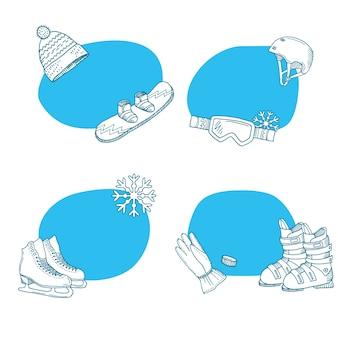 Colección de pegatinas de equipos de deportes de invierno dibujados a mano.