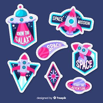 Colección de pegatinas espaciales dibujadas a mano