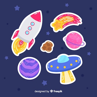 Colección de pegatinas espaciales dibujo artístico