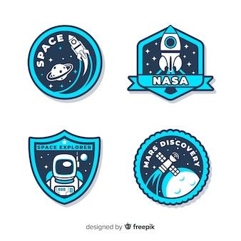 Colección de pegatinas espaciales con diferentes formas.