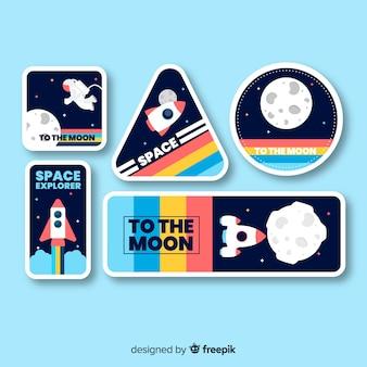 Colección de pegatinas espaciales con fondo azul