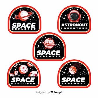 Colección de pegatinas espaciales modernas