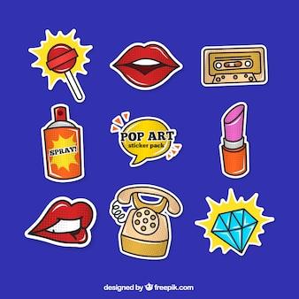 Colección de pegatinas con estilo pop art