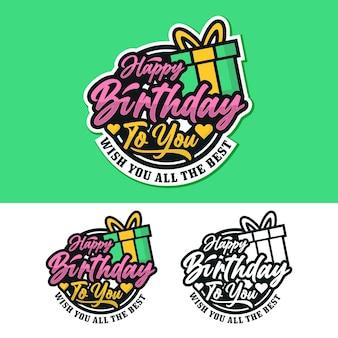Colección de pegatinas de etiqueta de placa de feliz cumpleaños