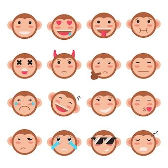 Colección de pegatinas de expresiones faciales de mono