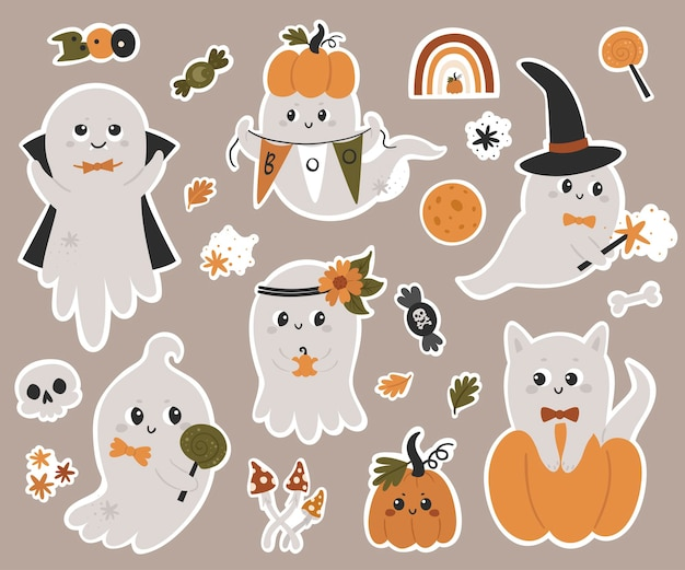 Colección de pegatinas de fantasmas de halloween. ilustración de vector para el diseño de planificadores, cuadernos y más