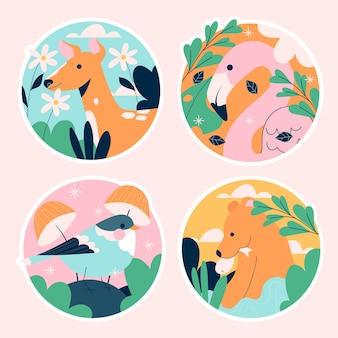 Colección de pegatinas de fauna ingenua