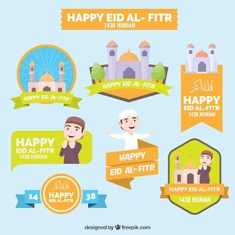 Colección de pegatinas de feliz eid al fitr
