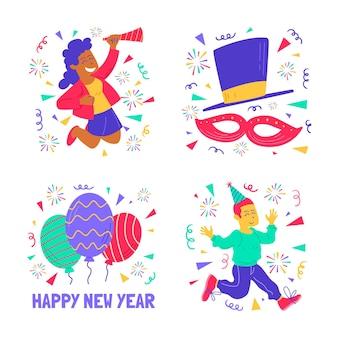Colección de pegatinas de fiesta de año nuevo con elementos coloridos