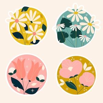 Colección de pegatinas de flores y plantas ingenuas