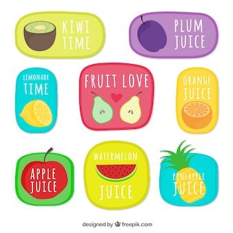 Colección de pegatinas de frutas dibujadas a mano