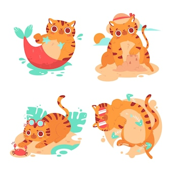 Colección de pegatinas de gatitos de verano