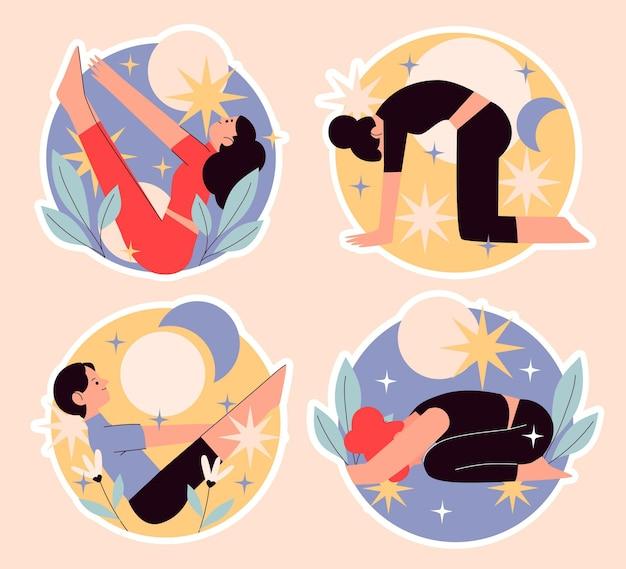 Colección de pegatinas de gente haciendo yoga.