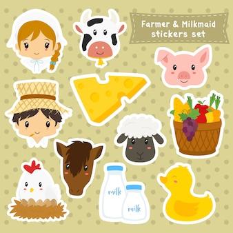 Colección de pegatinas de granjero y lechera