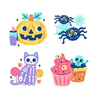 Colección de pegatinas de halloween deslumbrantes