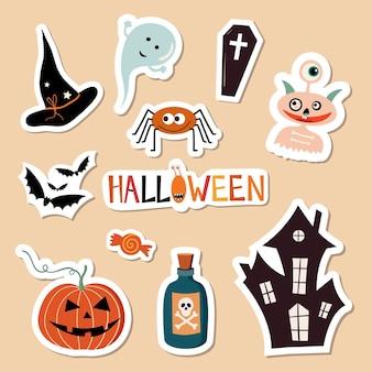 Colección de pegatinas de halloween con diferentes elementos de temporada gran colección vector aislado Vector Premium