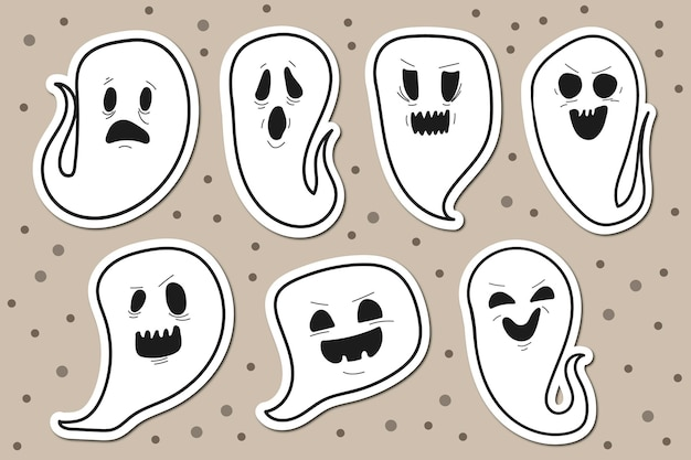 Colección de pegatinas de halloween con fantasmas