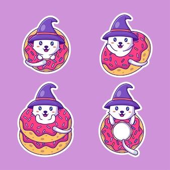 Colección de pegatinas de halloween feliz lindo gato y donas