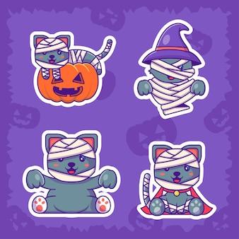 Colección de pegatinas de halloween lindo gato momia feliz